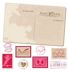 Vintage Postcard and Postage Stamps - for wedding vector image