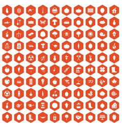 100 garden icons hexagon orange vector