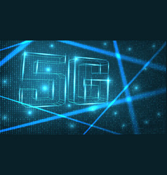 5g network digital hologram on zero-ones back vector image