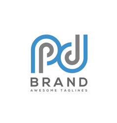 Abstract letter pd logo vector