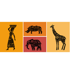 Africa banner with elements - patterned giraffes vector