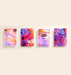 Artistic covers design liquid marble texture vector