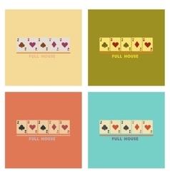 Assembly flat icons poker full house vector