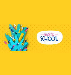 Back to school banner fun kids papercut supplies vector