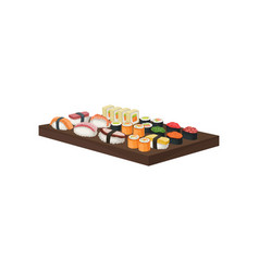 big set of sushi rolls on wooden plate japanese vector image