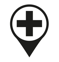 black and white hospital map sign silhouette vector image