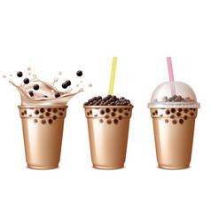 bubble tea drink cold tea with milk delicious vector image