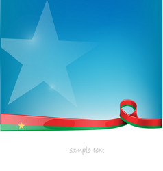 burkina faso ribbon flag on blue sky background vector image
