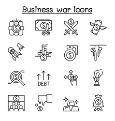 Business war trade war business crisis icon set vector