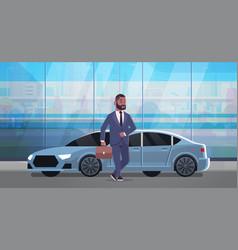 Businessman standing near luxury car african vector