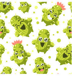 cactus seamless pattern cacti characters vector image