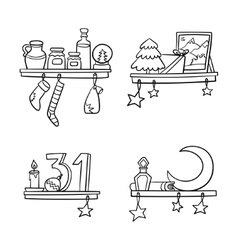Cartoon christmas ornaments and decoration on a vector