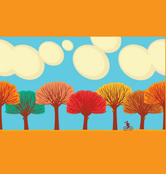 cartoon horizontal frieze with colorful fall trees vector image