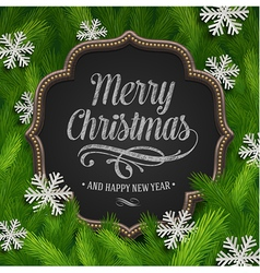 Chalkboard with christmas greeting and paper vector
