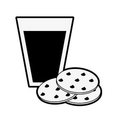 chocolate chip cookie with milk pastry related vector image