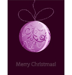 christmas card with shiny pink ball vector image