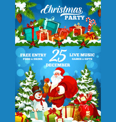 christmas holiday party poster santa and gifts vector image