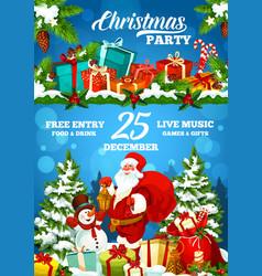 christmas holiday party poster santa and gifts vector image