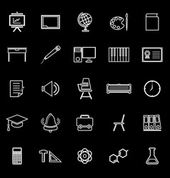 classroom line icons on black background vector image