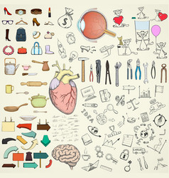 collection of doodle design elements vector image