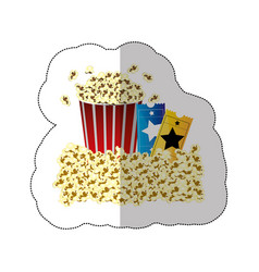 color background sticker of butter popcorn vector image