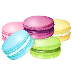 Colorful macaron on white vector