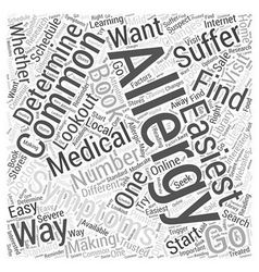 Common Allergy Symptoms Word Cloud Concept vector image