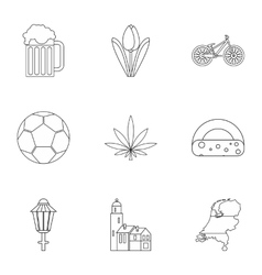 Country Holland icons set outline style vector