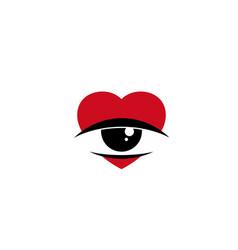 creative red heart love sleepy eye logo design vector image