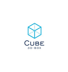 cube icon 3d box simple flat abstract logo vector image