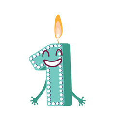 cute birthday candle number character one vector image
