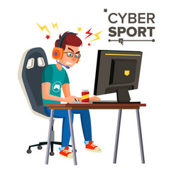 Cyber sport player professional gaming vector