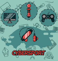 Cybersport flat icons set vector