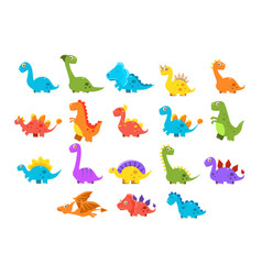 dinosaurs set variety species of brightly colored vector image