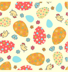 Easter seamless pattern with eggs vector