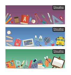 education flat icon stuff three horizontal banner vector image