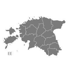 estonia counties map grey vector image