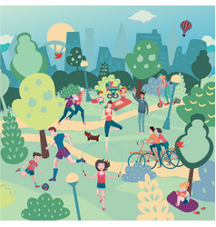 family holiday on nature aerialview of city park vector image