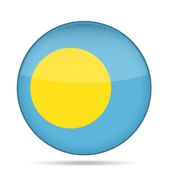 Flag of palau shiny round button vector
