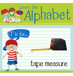 Flashcard letter T is for tape measure vector