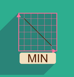 Flat web icon with long shadow falling graph vector