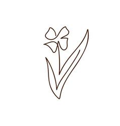 flower one line art logo minimalist vector image