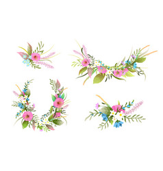 Flowers wreath and arrangements collection vector