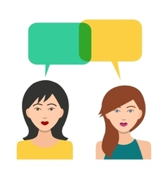 Girls Icons with Dialogue Bubbles vector image