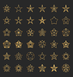gold star icons collection 36 line vector image