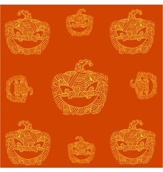 Halloween pumpkins doodle art orange backgrounds vector image