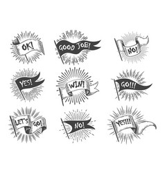 hand drawn vintage flag banner set vector image