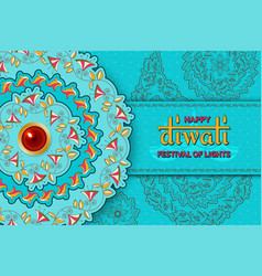 happy diwali turquoise template with floral vector image