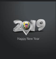 Happy new year 2019 grey typography with virgin vector