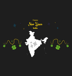 Happy new year theme with map of india vector